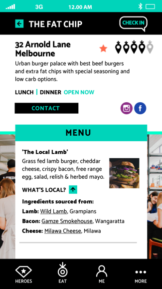 Details of an eatery on the We Eat Local app
