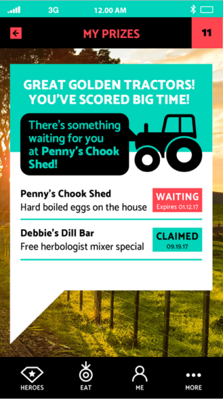 Rewards and prizes screen on the We Eat Local app